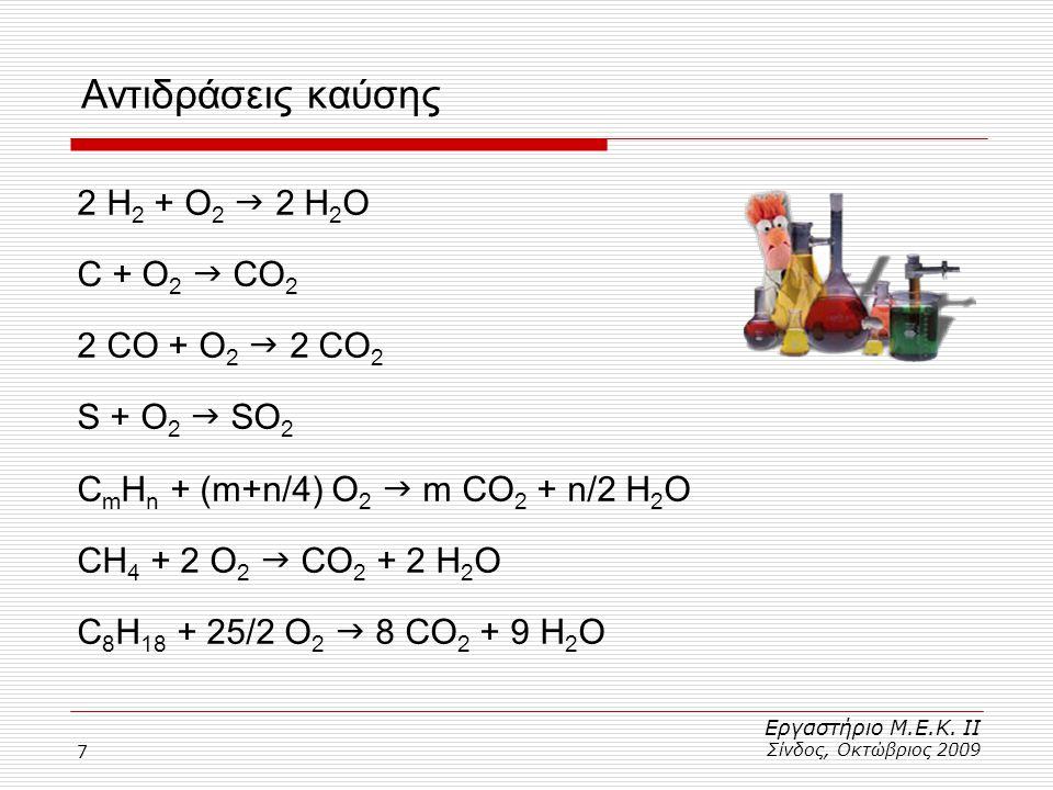 7 Αντιδράσεις καύσης 2 Η 2 + Ο 2  2 Η 2 Ο C + O 2  CO 2 2 CO + O 2  2 CO 2 S + O 2  SO 2 C m H n + (m+n/4) O 2  m CO 2 + n/2 H 2 O CH 4 + 2 O 2 
