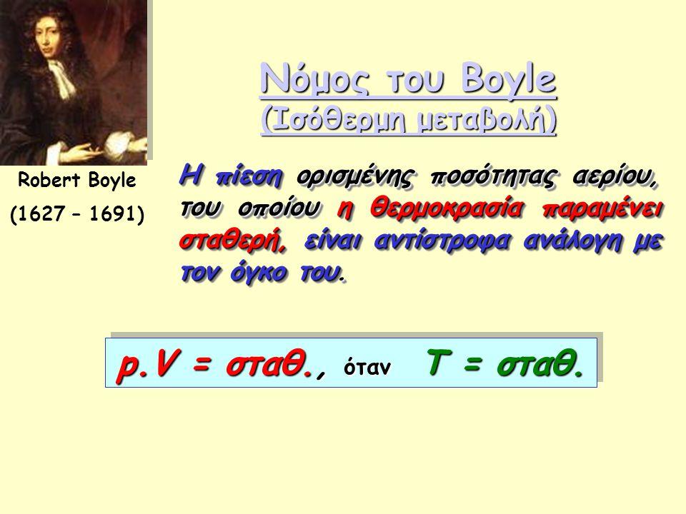 Νόμος του Boyle (Ισόθερμη μεταβολή) Νόμος του Boyle (Ισόθερμη μεταβολή) Robert Boyle (1627 – 1691) Η πίεση ορισμένης ποσότητας αερίου, του οποίου η θε