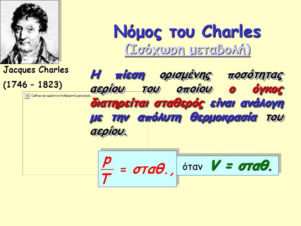Νόμος του Charles (Ισόχωρη μεταβολή) (Ισόχωρη μεταβολή) (Ισόχωρη μεταβολή) Jacques Charles (1746 – 1823) Η πίεση ορισμένης ποσότητας αερίου του οποίου