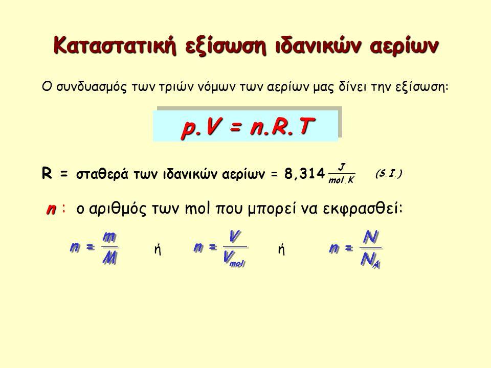 Καταστατική εξίσωση ιδανικών αερίων Ο συνδυασμός των τριών νόμων των αερίων μας δίνει την εξίσωση: p.V = n.R.T R = σταθερά των ιδανικών αερίων = 8,314
