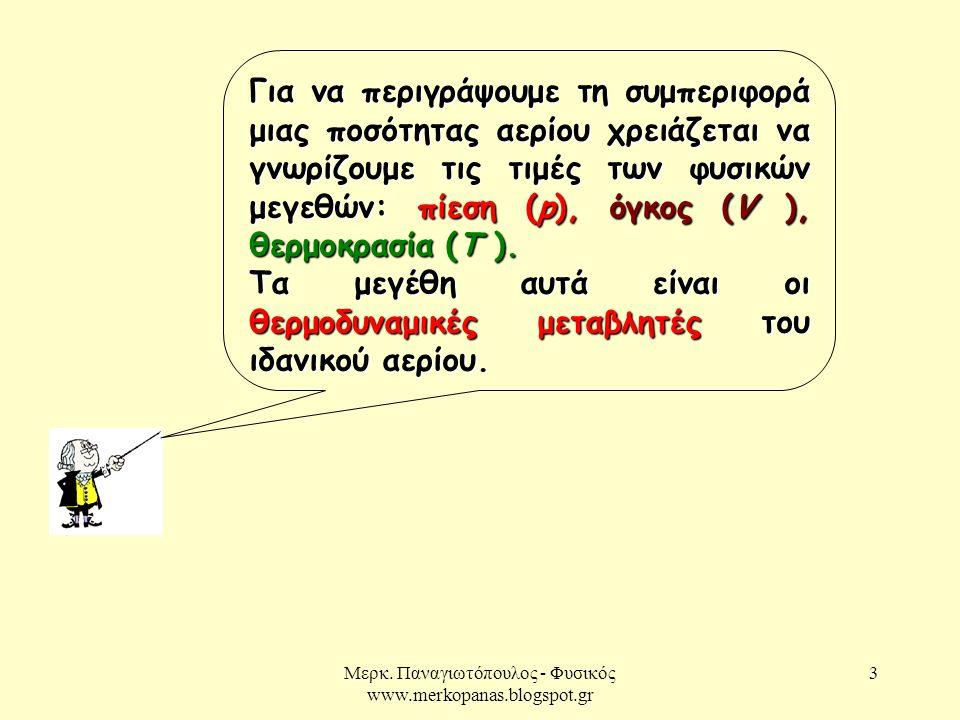 Μερκ. Παναγιωτόπουλος - Φυσικός www.merkopanas.blogspot.gr 3 Για να περιγράψουμε τη συμπεριφορά μιας ποσότητας αερίου χρειάζεται να γνωρίζουμε τις τιμ