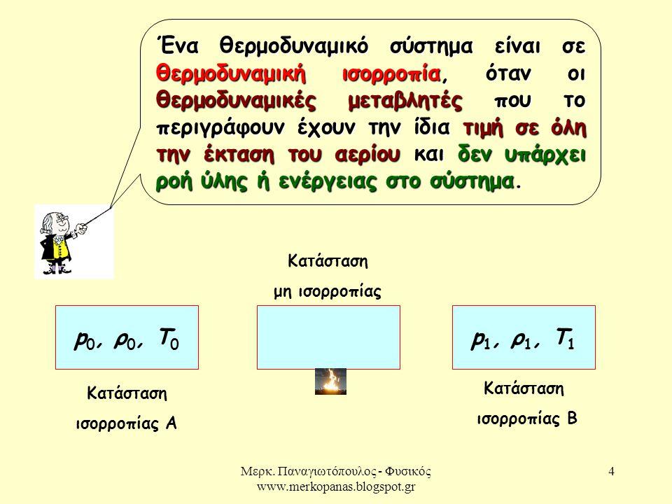 Μερκ. Παναγιωτόπουλος - Φυσικός www.merkopanas.blogspot.gr 4 Ένα θερμοδυναμικό σύστημα είναι σε θερμοδυναμική ισορροπία, όταν οι θερμοδυναμικές μεταβλ