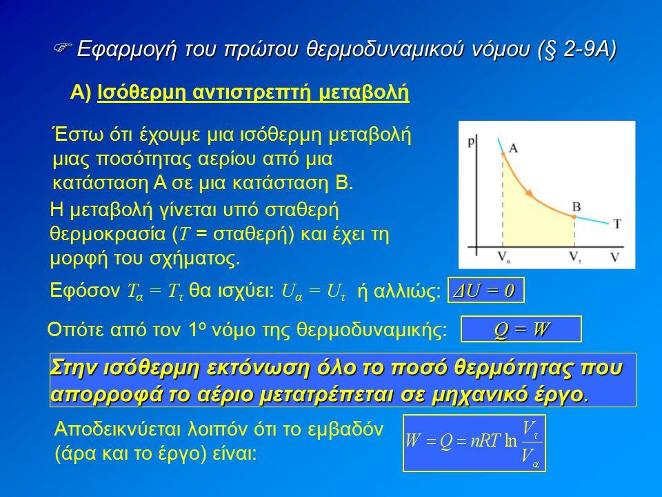  Εφαρμογή του πρώτου θερμοδυναμικού νόμου (§ 2-9Α) Α) Ισόθερμη αντιστρεπτή μεταβολή Έστω ότι έχουμε μια ισόθερμη μεταβολή μιας ποσότητας αερίου από μ