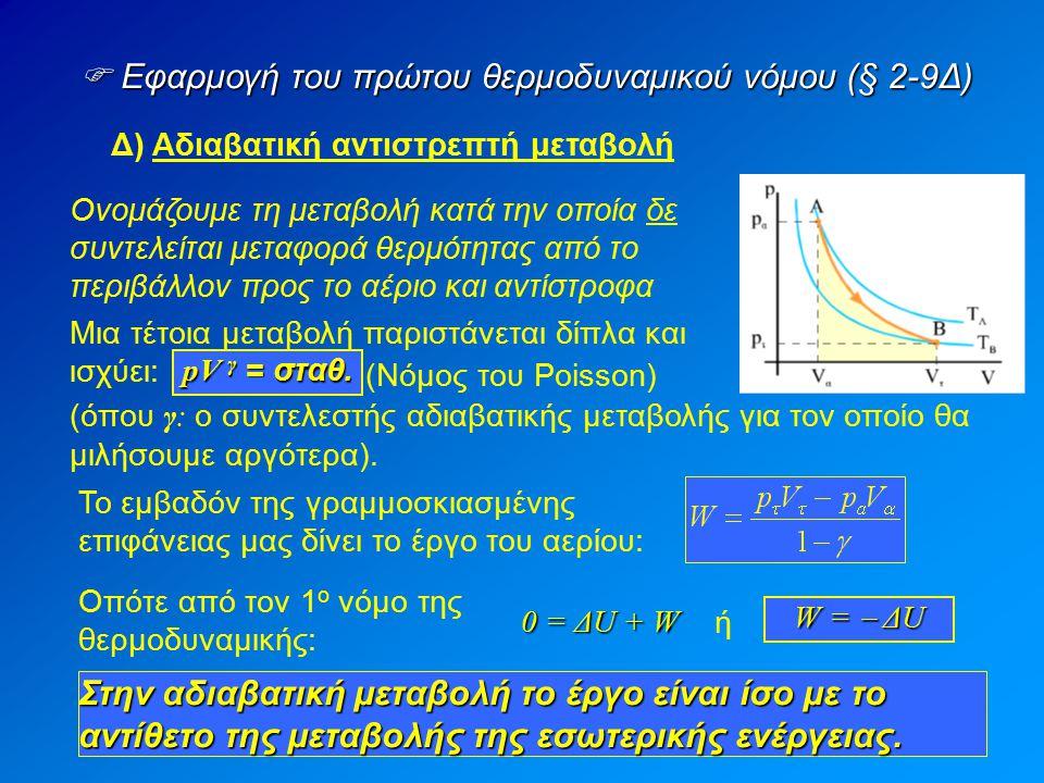  Εφαρμογή του πρώτου θερμοδυναμικού νόμου (§ 2-9Δ) Δ) Αδιαβατική αντιστρεπτή μεταβολή Ονομάζουμε τη μεταβολή κατά την οποία δε συντελείται μεταφορά θ