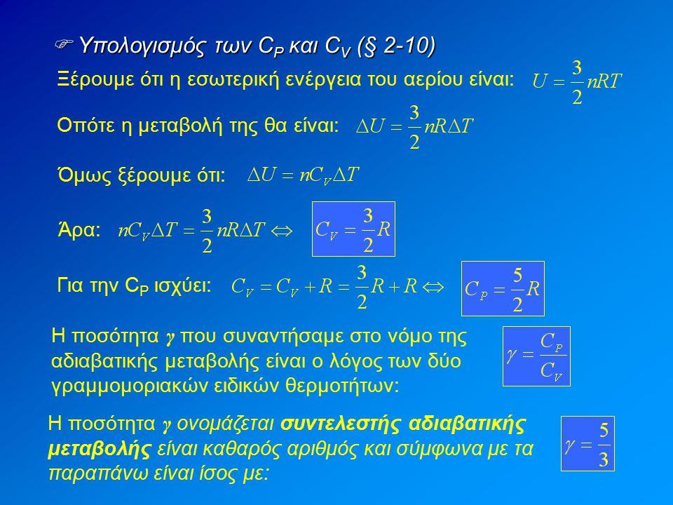  Υπολογισμός των C P και C V (§ 2-10) Ξέρουμε ότι η εσωτερική ενέργεια του αερίου είναι: Οπότε η μεταβολή της θα είναι: Όμως ξέρουμε ότι: Άρα: Για τη