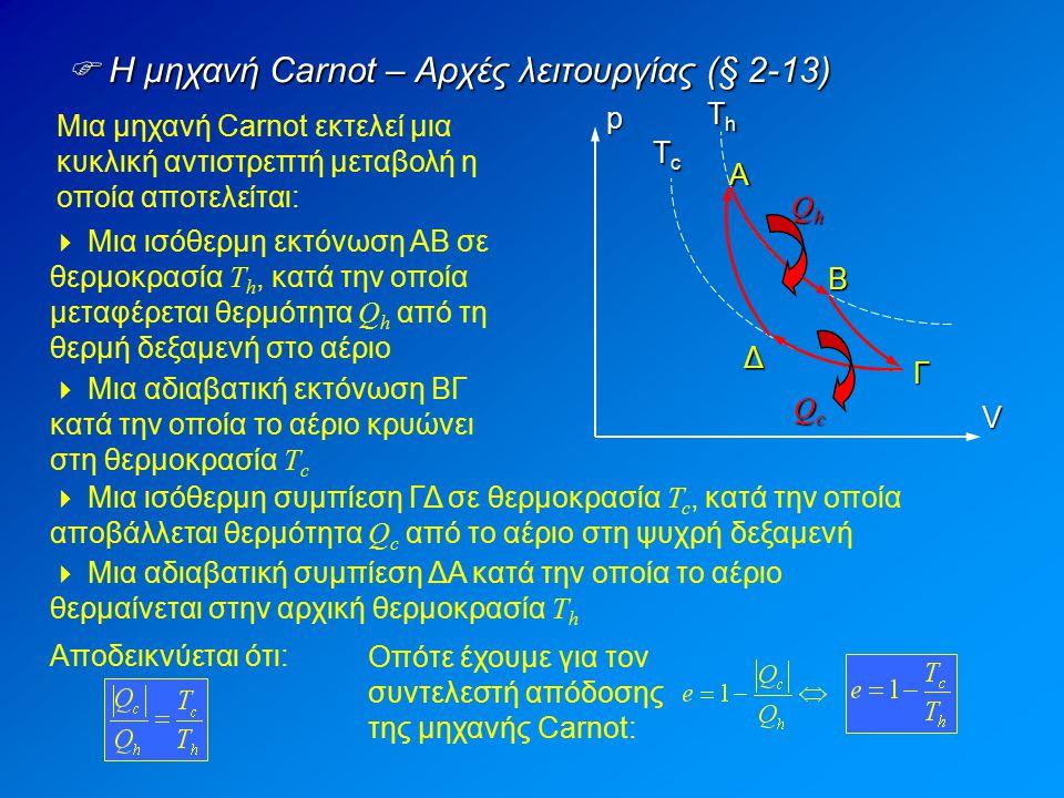 Μια μηχανή Carnot εκτελεί μια κυκλική αντιστρεπτή μεταβολή η οποία αποτελείται:  Η μηχανή Carnot – Αρχές λειτουργίας (§ 2-13)  Μια ισόθερμη εκτόνωση