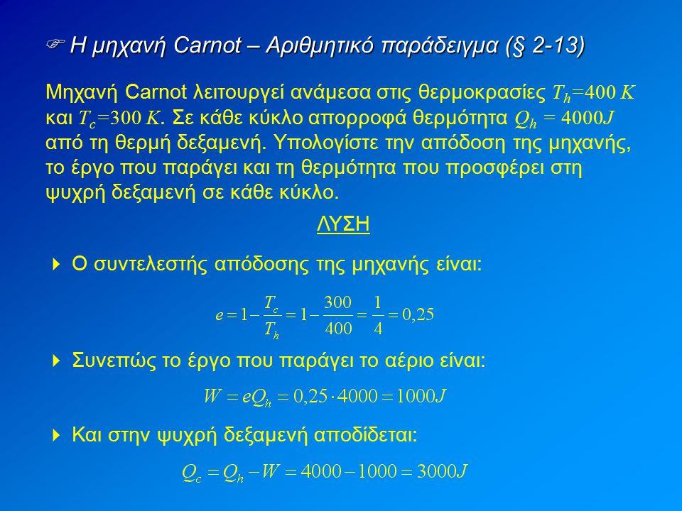  Η μηχανή Carnot – Αριθμητικό παράδειγμα (§ 2-13) Μηχανή Carnot λειτουργεί ανάμεσα στις θερμοκρασίες T h =400 K και Τ c =300 K. Σε κάθε κύκλο απορροφ