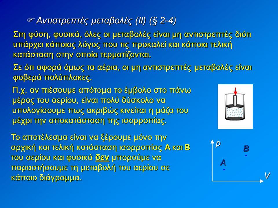  Αντιστρεπτές μεταβολές (ΙΙ) (§ 2-4) Στη φύση, φυσικά, όλες οι μεταβολές είναι μη αντιστρεπτές διότι υπάρχει κάποιος λόγος που τις προκαλεί και κάποι