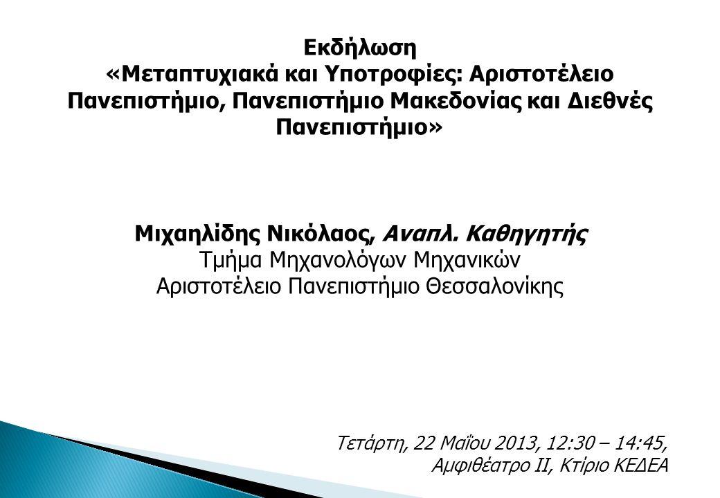 Εκδήλωση «Μεταπτυχιακά και Υποτροφίες: Αριστοτέλειο Πανεπιστήμιο, Πανεπιστήμιο Μακεδονίας και Διεθνές Πανεπιστήμιο» Μιχαηλίδης Νικόλαος, Αναπλ.