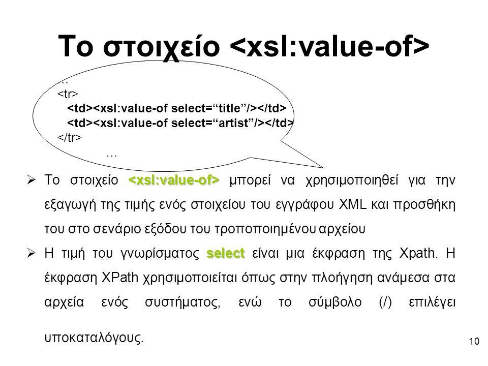 10 Το στοιχείο  Το στοιχείο μπορεί να χρησιμοποιηθεί για την εξαγωγή της τιμής ενός στοιχείου του εγγράφου XML και προσθήκη του στο σενάριο εξόδου του τροποποιημένου αρχείου select  Η τιμή του γνωρίσματος select είναι μια έκφραση της Xpath.