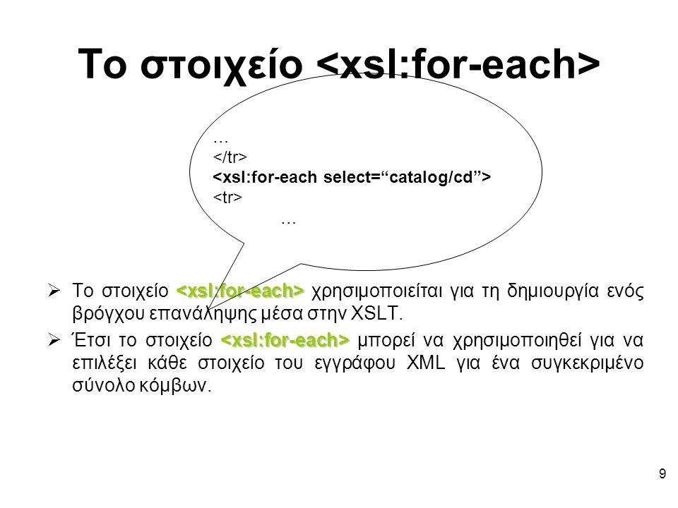 9 Το στοιχείο  Το στοιχείο χρησιμοποιείται για τη δημιουργία ενός βρόγχου επανάληψης μέσα στην XSLT.