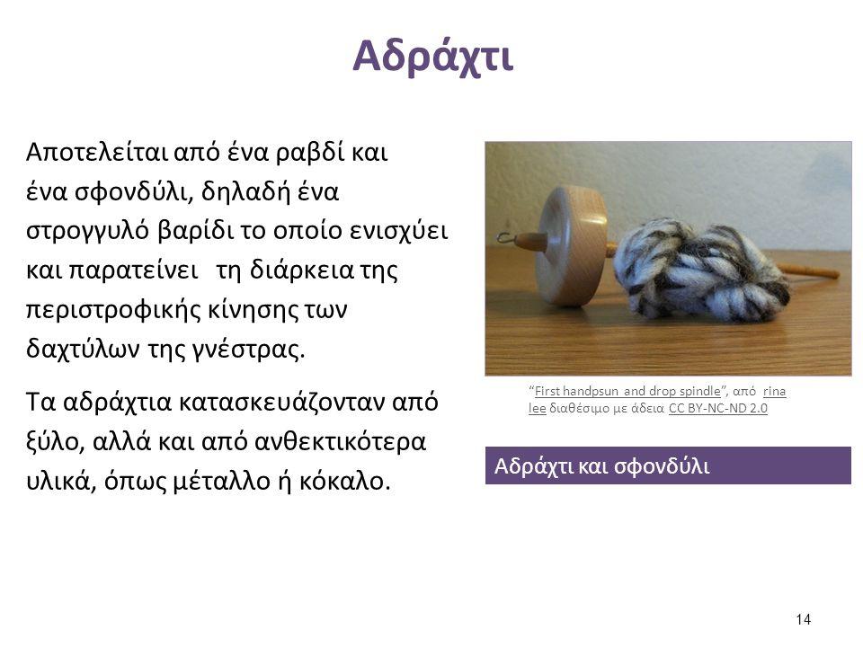Αδράχτι Αποτελείται από ένα ραβδί και ένα σφονδύλι, δηλαδή ένα στρογγυλό βαρίδι το οποίο ενισχύει και παρατείνει τη διάρκεια της περιστροφικής κίνησης
