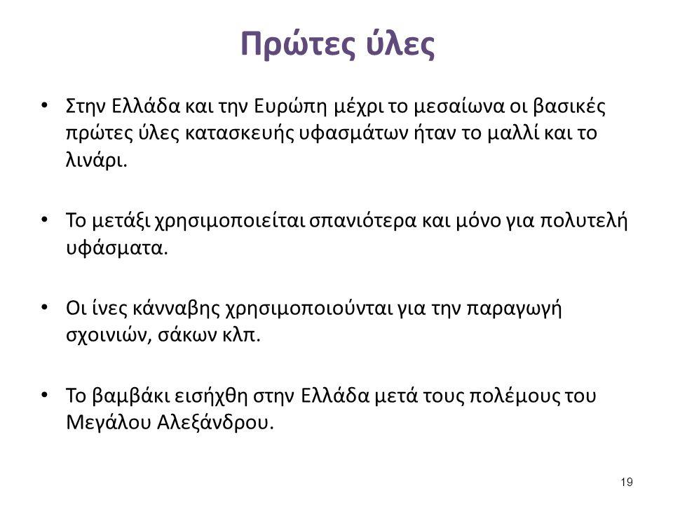 Πρώτες ύλες Στην Ελλάδα και την Ευρώπη μέχρι το μεσαίωνα οι βασικές πρώτες ύλες κατασκευής υφασμάτων ήταν το μαλλί και το λινάρι. Το μετάξι χρησιμοποι