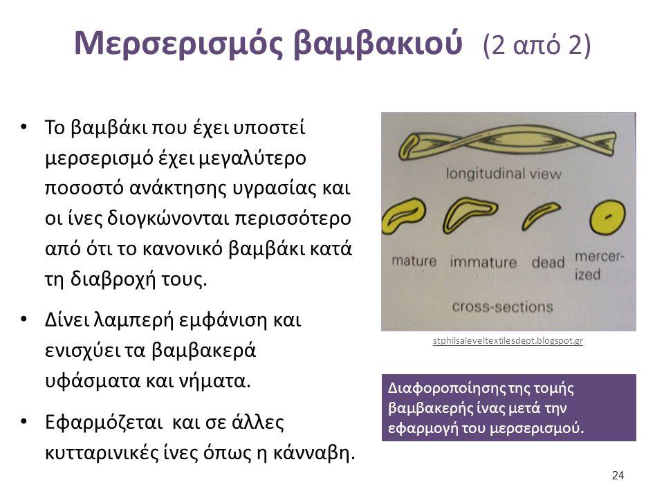 Μερσερισμός βαμβακιού (2 από 2) Το βαμβάκι που έχει υποστεί μερσερισμό έχει μεγαλύτερο ποσοστό ανάκτησης υγρασίας και οι ίνες διογκώνονται περισσότερο