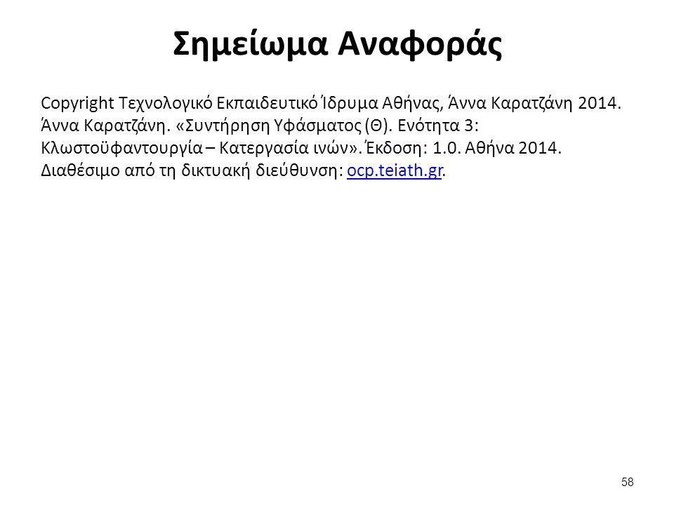 Σημείωμα Αναφοράς Copyright Τεχνολογικό Εκπαιδευτικό Ίδρυμα Αθήνας, Άννα Καρατζάνη 2014. Άννα Καρατζάνη. «Συντήρηση Υφάσματος (Θ). Ενότητα 3: Κλωστοϋφ