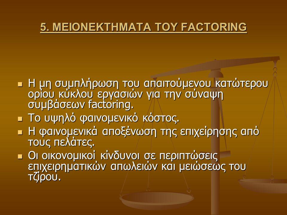 5. ΜΕΙΟΝΕΚΤΗΜΑΤΑ ΤΟΥ FACTORING Η μη συμπλήρωση του απαιτούμενου κατώτερου ορίου κύκλου εργασιών για την σύναψη συμβάσεων factoring. Η μη συμπλήρωση το