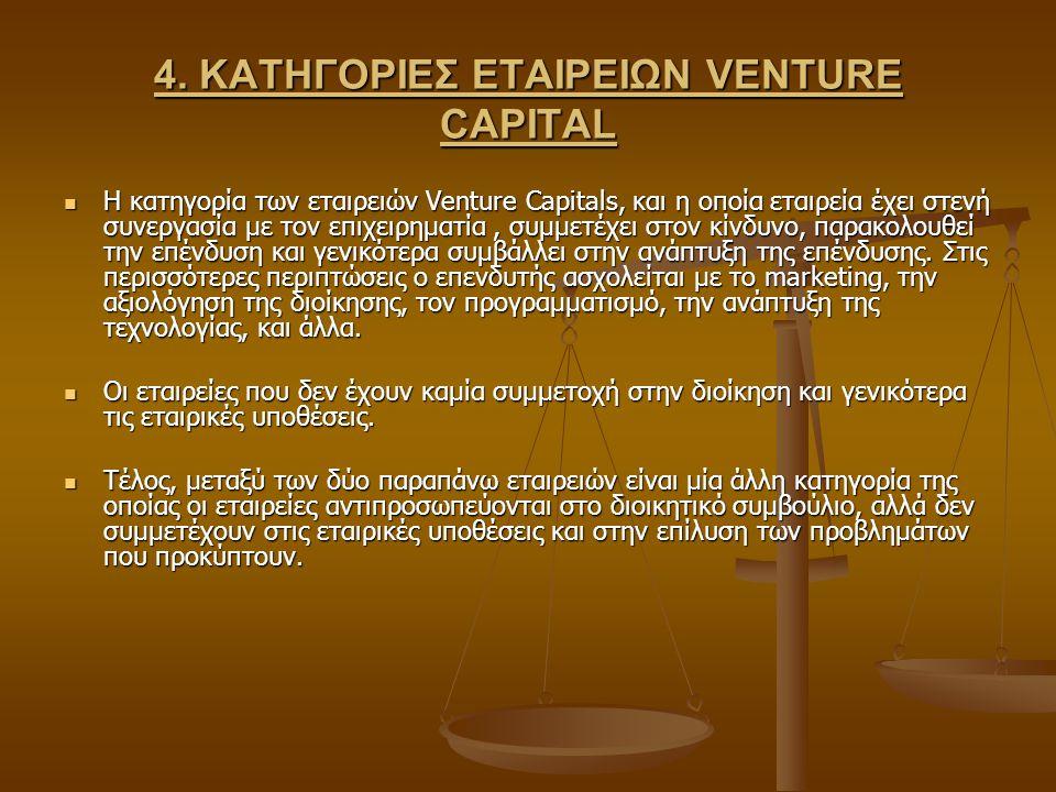 4. ΚΑΤΗΓΟΡΙΕΣ ΕΤΑΙΡΕΙΩΝ VENTURE CAPITAL Η κατηγορία των εταιρειών Venture Capitals, και η οποία εταιρεία έχει στενή συνεργασία με τον επιχειρηματία, σ