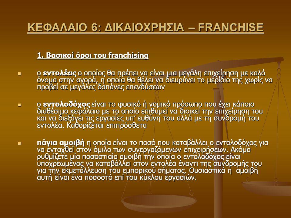 ΚΕΦΑΛΑΙΟ 6: ΔΙΚΑΙΟΧΡΗΣΙΑ – FRANCHISE 1. Βασικοί όροι του franchising ο εντολέας ο οποίος θα πρέπει να είναι μια μεγάλη επιχείρηση με καλό όνομα στην α
