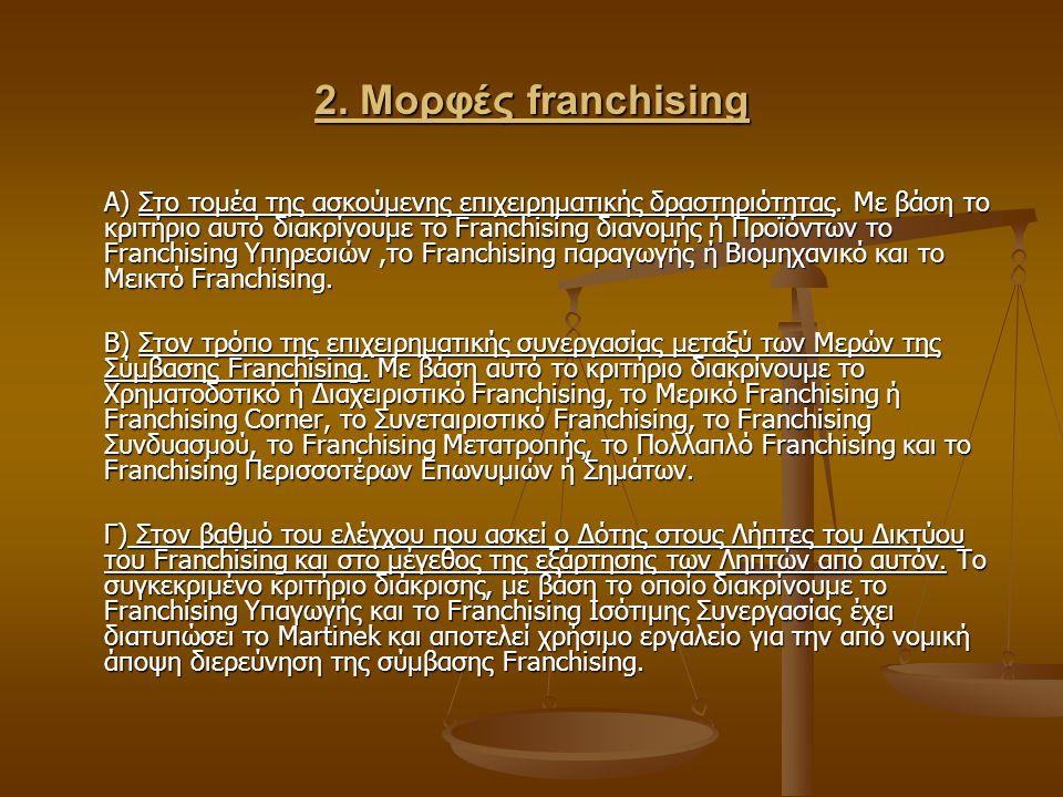 2. Μορφές franchising Α) Στο τομέα της ασκούμενης επιχειρηματικής δραστηριότητας. Με βάση το κριτήριο αυτό διακρίνουμε το Franchising διανομής ή Προϊό