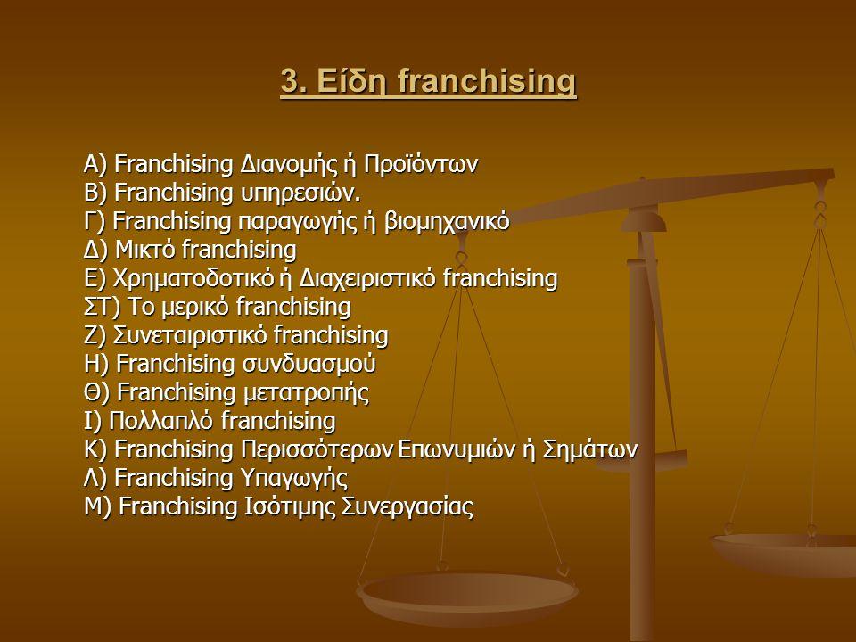3. Είδη franchising Α) Franchising Διανομής ή Προϊόντων Β) Franchising υπηρεσιών. Γ) Franchising παραγωγής ή βιομηχανικό Δ) Μικτό franchising Ε) Χρημα