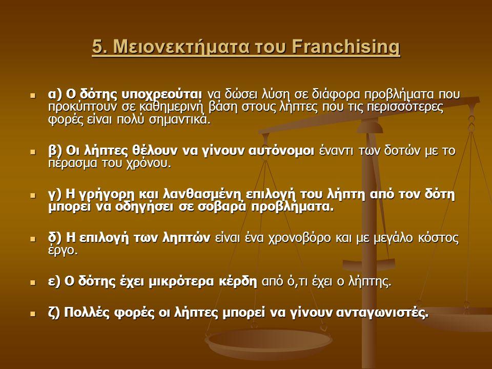 5. Μειονεκτήματα του Franchising α) Ο δότης υποχρεούται να δώσει λύση σε διάφορα προβλήματα που προκύπτουν σε καθημερινή βάση στους λήπτες που τις περ