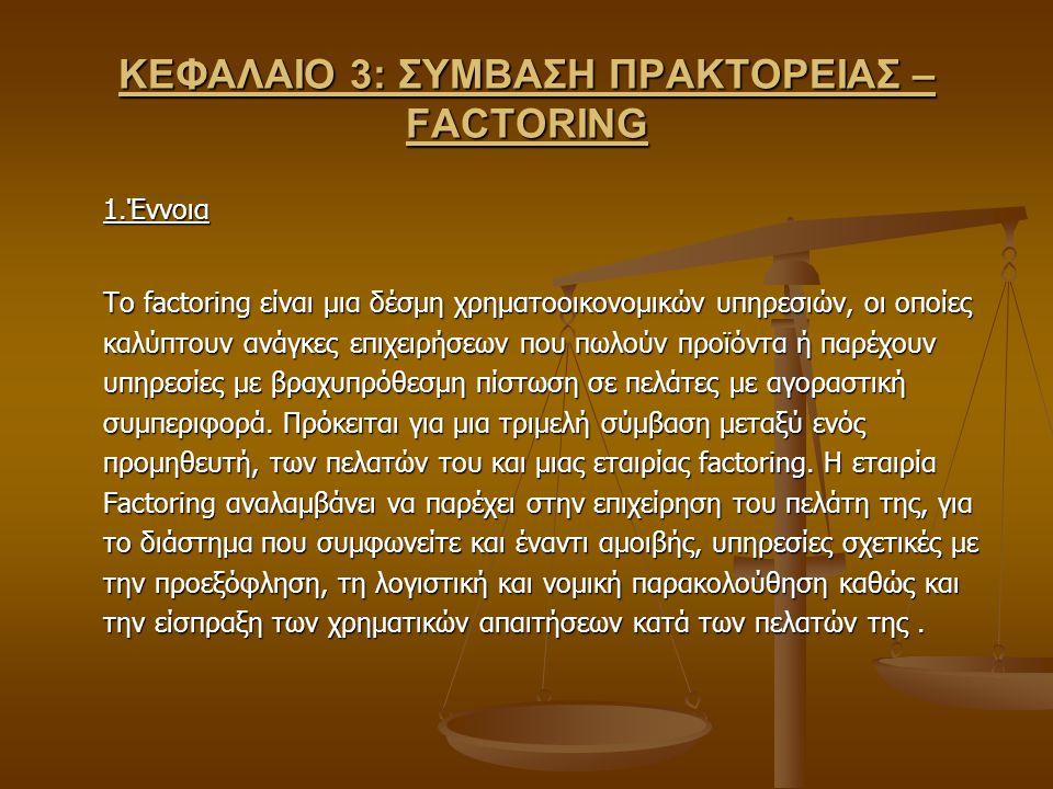 ΚΕΦΑΛΑΙΟ 3: ΣΥΜΒΑΣΗ ΠΡΑΚΤΟΡΕΙΑΣ – FACTORING 1.Έννοια Το factoring είναι μια δέσμη χρηματοοικονομικών υπηρεσιών, οι οποίες καλύπτουν ανάγκες επιχειρήσε