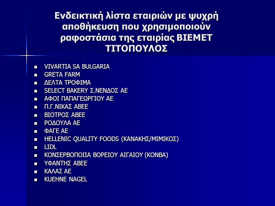 Ενδεικτική λίστα εταιριών με ψυχρή αποθήκευση που χρησιμοποιούν ραφοστάσια της εταιρίας ΒΙΕΜΕΤ ΤΙΤΟΠΟΥΛΟΣ VIVARTIA SA BULGARIA VIVARTIA SA BULGARIA GR