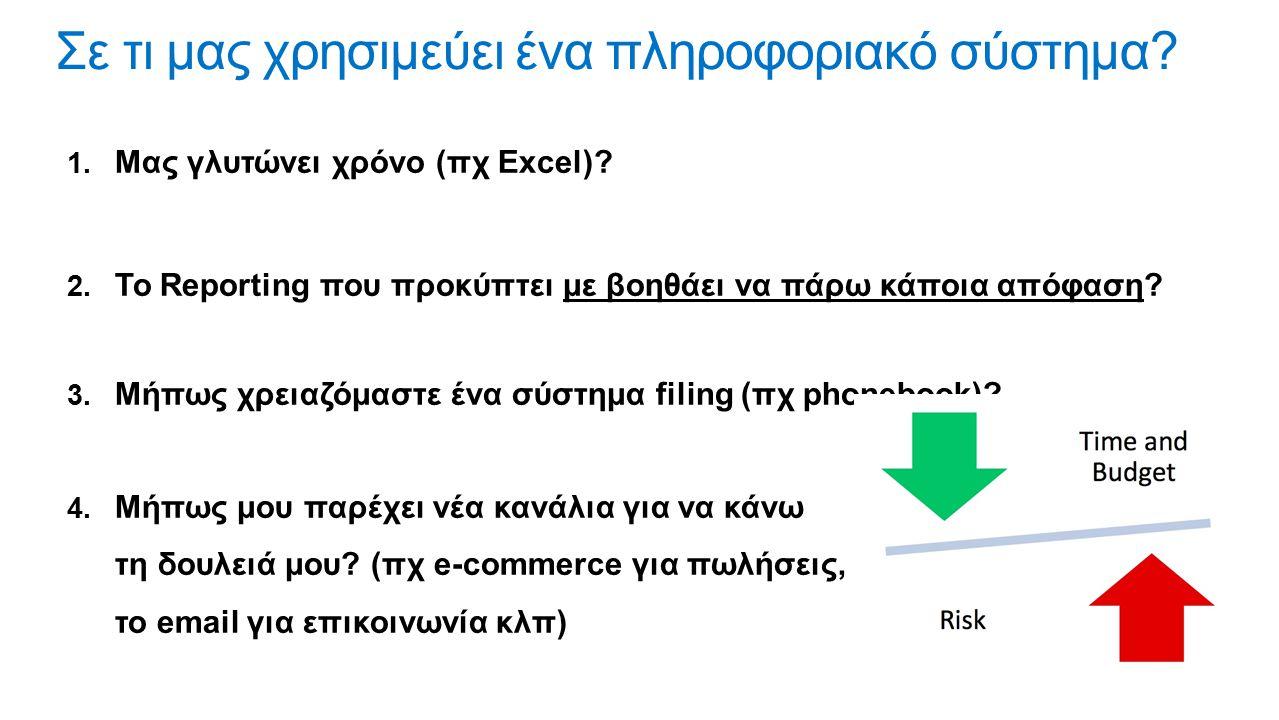  Μας γλυτώνει χρόνο (πχ Excel)?  Το Reporting που προκύπτει με βοηθάει να πάρω κάποια απόφαση?  Μήπως χρειαζόμαστε ένα σύστημα filing (πχ phoneb