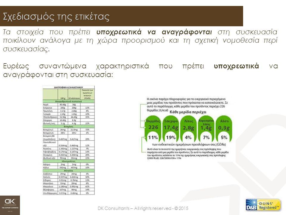 DK Consultants – All rights reserved - © 2015 Σχεδιασμός της ετικέτας Τα στοιχεία που πρέπει υποχρεωτικά να αναγράφονται στη συσκευασία ποικίλουν ανάλ