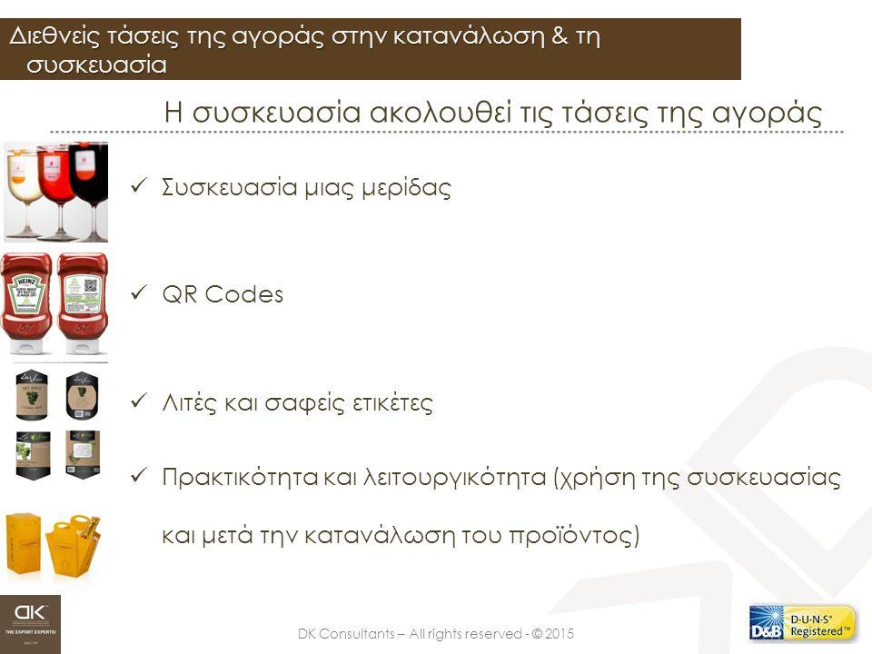 DK Consultants – All rights reserved - © 2015 Σχεδιασμός ετικέτας Ευρέως συναντώμενα χαρακτηριστικά που πρέπει υποχρεωτικά να αναγράφονται στη συσκευασία: Οδηγίες Χρήσης Προφυλάξεις Πιστοποίηση CE Ανακύκλωση Συστατικά Χώρα Προέλευσης Ημερομηνία Λήξης