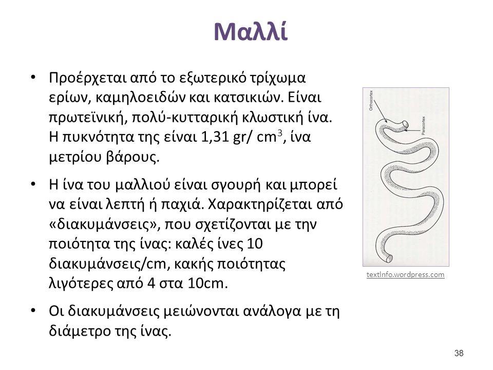 Μαλλί Προέρχεται από το εξωτερικό τρίχωμα ερίων, καμηλοειδών και κατσικιών. Είναι πρωτεϊνική, πολύ-κυτταρική κλωστική ίνα. Η πυκνότητα της είναι 1,31