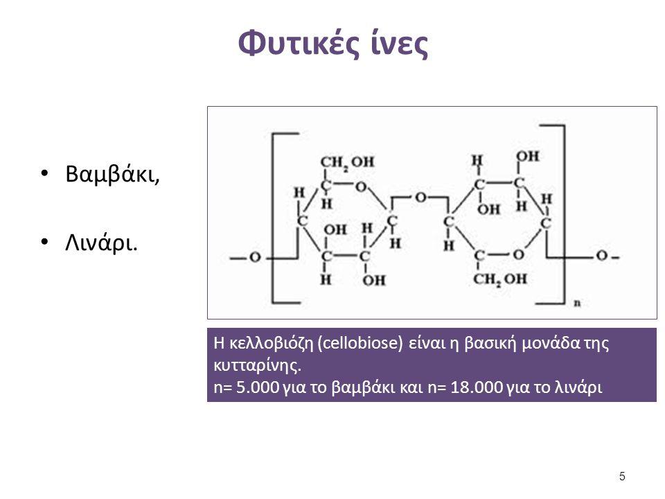 Φυτικές ίνες Βαμβάκι, Λινάρι. Η κελλοβιόζη (cellobiose) είναι η βασική μονάδα της κυτταρίνης. n= 5.000 για το βαμβάκι και n= 18.000 για το λινάρι 5