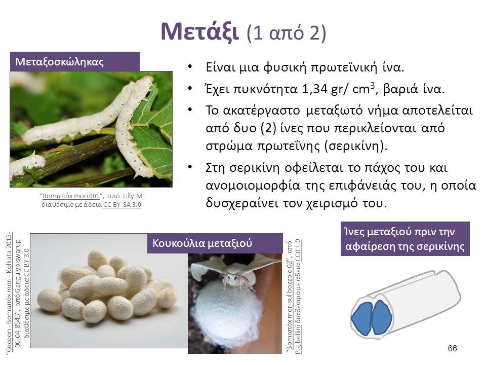 Μετάξι (1 από 2) Είναι μια φυσική πρωτεϊνική ίνα. Έχει πυκνότητα 1,34 gr/ cm 3, βαριά ίνα. Το ακατέργαστο μεταξωτό νήμα αποτελείται από δυο (2) ίνες π