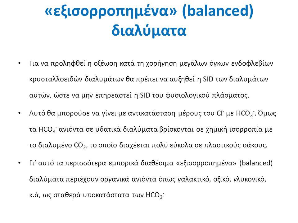 «εξισορροπημένα» (balanced) διαλύματα Για να προληφθεί η οξέωση κατά τη χορήγηση μεγάλων όγκων ενδοφλεβίων κρυσταλλοειδών διαλυμάτων θα πρέπει να αυξη