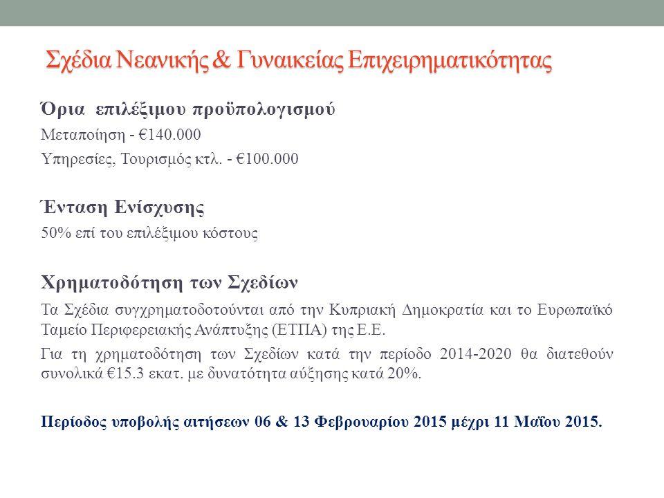 Όρια επιλέξιμου προϋπολογισμού Μεταποίηση - €140.000 Υπηρεσίες, Τουρισμός κτλ.