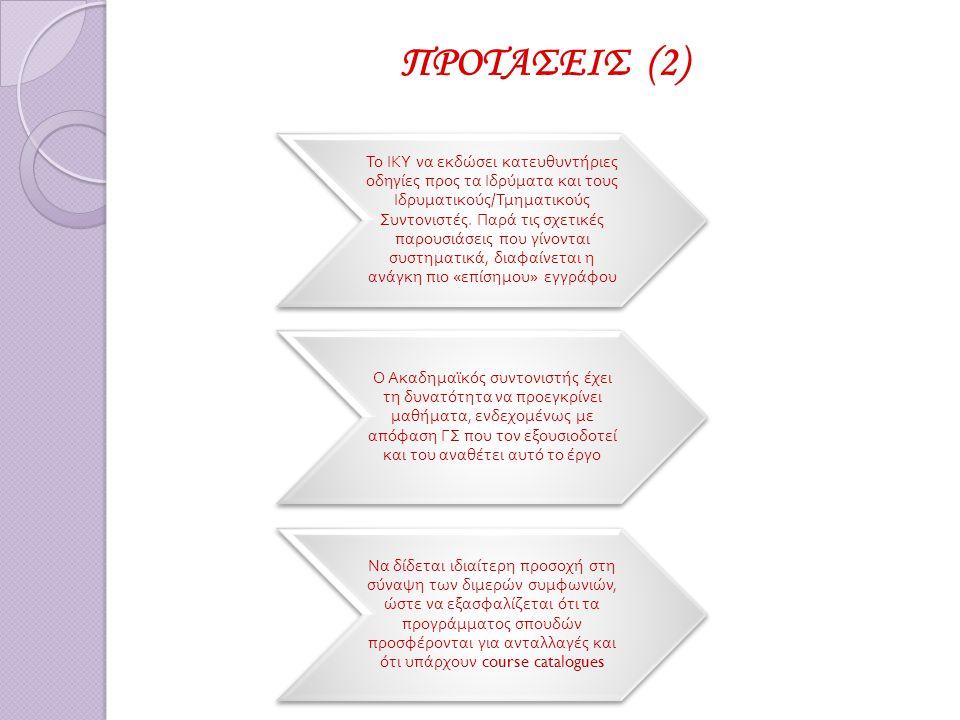ΠΡΟΤΑΣΕΙΣ (2) Το ΙΚΥ να εκδώσει κατευθυντήριες οδηγίες π ρος τα Ιδρύματα και τους Ιδρυματικούς / Τμηματικούς Συντονιστές.