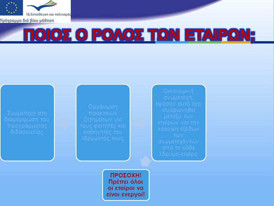Συμμετοχή στη διαμόρφωση του π ρογράμματος διδασκαλίας Οργάνωση π ρακτικών ζητημάτων για τους φοιτητές και καθηγητές του Ιδρύματός τους Οικονομική συμμετοχή, εφόσον αυτό έχει συμφωνηθεί μεταξύ των εταίρων για την κάλυψη εξόδων των συμμετεχόντων α π ό το κάθε Ίδρυμα - εταίρο ΠΡΟΣΟΧΗ .