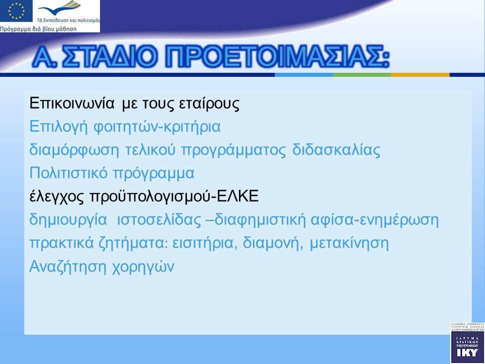 Επικοινωνία με τους εταίρους Επιλογή φοιτητών - κριτήρια διαμόρφωση τελικού προγράμματος διδασκαλίας Πολιτιστικό πρόγραμμα έλεγχος προϋπολογισμού - ΕΛΚΕ δημιουργία ιστοσελίδας – διαφημιστική αφίσα - ενημέρωση πρακτικά ζητήματα : εισιτήρια, διαμονή, μετακίνηση Αναζήτηση χορηγών