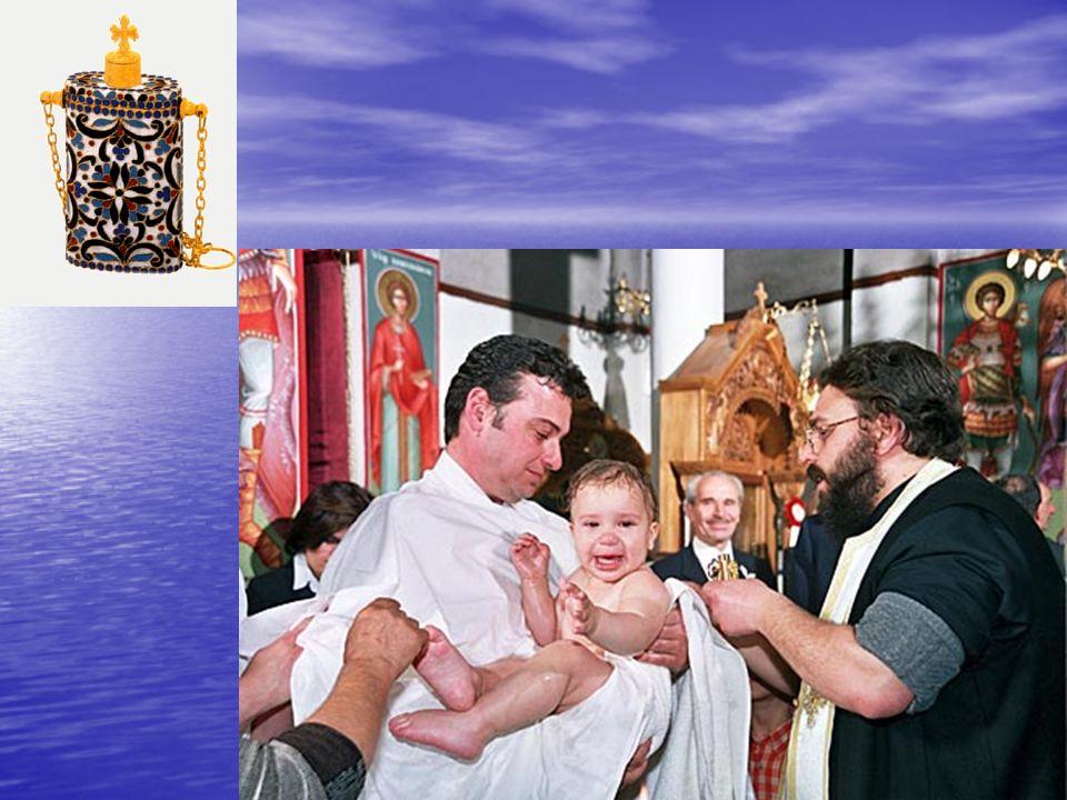 2. ΤΕΛΕΤΗ ΤΟΥ ΜΥΣΤΗΡΙΟΥ Ο Ιερέας χρίζει το νεοφώτιστο σε όλα τα μέλη του σώματος με Άγιο Μύρο, σταυρώνοντάς τον λέγοντας: «σφραγίς δωρεάς πνεύματος Αγ