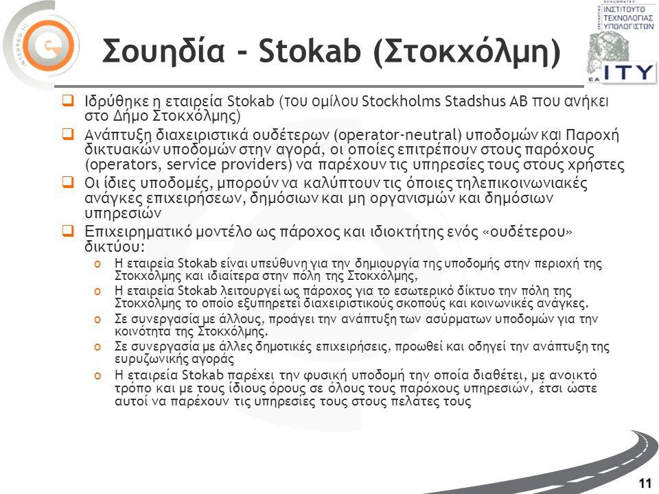11 Σουηδία - Stokab (Στοκχόλμη)  Ιδρύθηκε η εταιρεία Stokab (του ο μ ίλου Stockholms Stadshus AB που ανήκει στο Δήμο Στοκχόλμης )  Ανάπτυξη διαχειριστικά ουδέτερων (operator-neutral) υποδομών και Παροχή δικτυακών υποδομών στην αγορά, οι οποίες επιτρέπουν στους παρόχους (operators, service providers) να παρέχουν τις υπηρεσίες τους στους χρήστες  Οι ίδιες υποδομές, μπορούν να καλύπτουν τις όποιες τηλεπικοινωνιακές ανάγκες επιχειρήσεων, δημόσιων και μη οργανισμών και δημόσιων υπηρεσιών  Ε πιχειρηματικό μοντέλο ως πάροχος και ιδιοκτήτης ενός «ουδέτερου» δικτύου: oΗ εταιρεία Stokab είναι υπεύθυνη για την δημιουργία της υ ποδομής στην περιοχή της Στοκχόλμης και ιδιαίτερα στην πόλη της Στοκχόλμης, oΗ εταιρεία Stokab λειτουργεί ως πάροχος για το εσωτερικό δίκτυο την πόλη της Στοκχόλμης το οποίο εξυπηρετεί διαχειριστικούς σκοπούς και κοινωνικές ανάγκες.