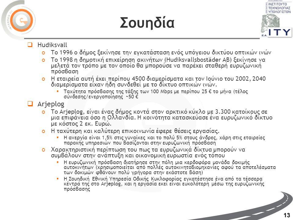 13 Σουηδία  Hudiksvall oΤο 1996 ο δήμος ξεκίνησε την εγκατάσταση ενός υπόγειου δικτύου οπτικών ινών oTo 1998 η δημοτική επιχείρηση ακινήτων (Hudiksvallsbostäder AB) ξεκίνησε να μελετά τον τρόπο με τον οποίο θα μπορούσε να παρέχει σταθερή ευρυζωνική πρόσβαση oΗ εταιρεία αυτή έχει περίπου 4500 διαμερίσματα και τον Ιούνιο του 2002, 2040 διαμερίσματα είχαν ήδη συνδεθεί με το δίκτυο οπτικών ινών.