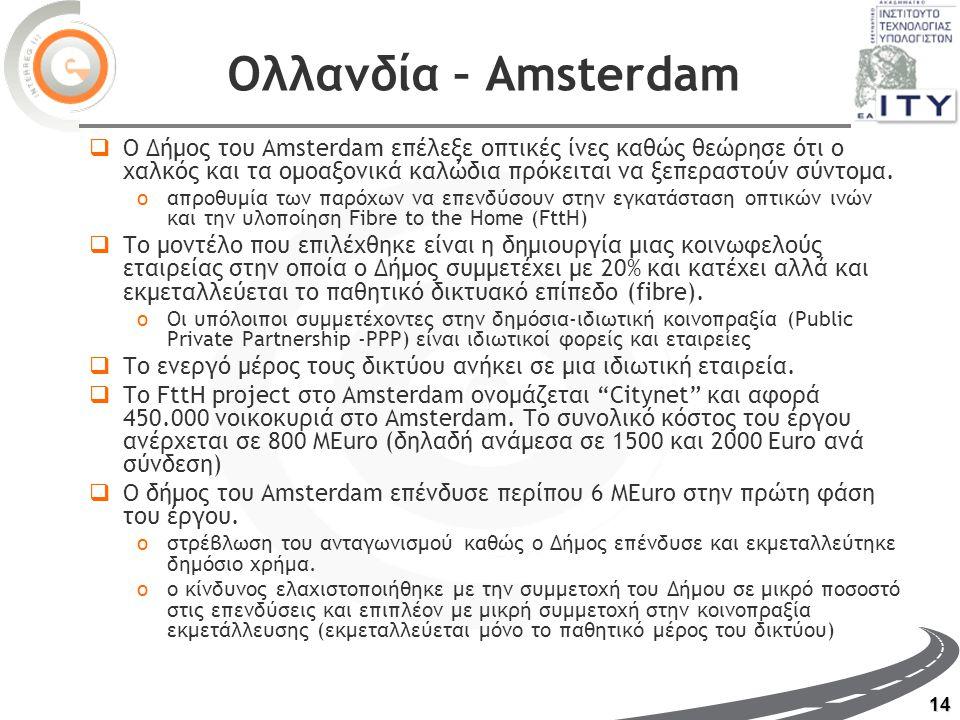 14 Ολλανδία – Amsterdam  Ο Δήμος του Amsterdam επέλεξε οπτικές ίνες καθώς θεώρησε ότι ο χαλκός και τα ομοαξονικά καλώδια πρόκειται να ξεπεραστούν σύντομα.