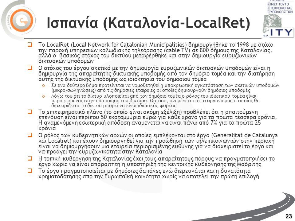 23 Ισπανία (Καταλονία-LocalRet)  Το LocalRet (Local Network for Catalonian Municipalities) δημιουργήθηκε το 1998 με στόχο την παροχή υπηρεσιών καλωδιακής τηλεόρασης (cable TV) σε 800 δήμους της Καταλονίας, αλλά ο βασικός στόχος του δικτύου μεταφέρθηκε και στην δημιουργία ευρυζωνικών δικτυακών υποδομών  Ο στόχος του έργου σχετικά με την δημιουργία ευρυζωνικών δικτυακών υποδομών είναι η δημιουργία της απαραίτητης δικτυακής υποδομής από τον δημόσιο τομέα και την διατήρηση αυτής της δικτυακής υποδομής ως ιδιοκτησία του δημόσιου τομέα oΣε ένα δεύτερο βήμα προτείνεται να νομοθετηθεί η υποχρεωτική εγκατάσταση των σχετικών υποδομών (μικρο-σωληνώσεις) από τις δημόσιες εταιρείες οι οποίες δημιουργούν δημόσιες υποδομές oΛόγω του ότι το δίκτυο υλοποιείται από τον δημόσιο τομέα ο ρόλος του ιδιωτικού τομέα είναι περιορισμένος στην υλοποίηση του δικτύου.