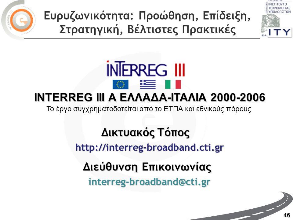 46 http://interreg-broadband.cti.gr interreg-broadband@cti.gr ΔικτυακόςΤόπος Δικτυακός Τόπος Διεύθυνση Επικοινωνίας INTERREG III Α ΕΛΛΑΔΑ-ΙΤΑΛΙΑ 2000-2006 Το έργο συγχρηματοδοτείται από το ΕΤΠΑ και εθνικούς πόρους Ευρυζωνικότητα: Προώθηση, Επίδειξη, Στρατηγική, Βέλτιστες Πρακτικές