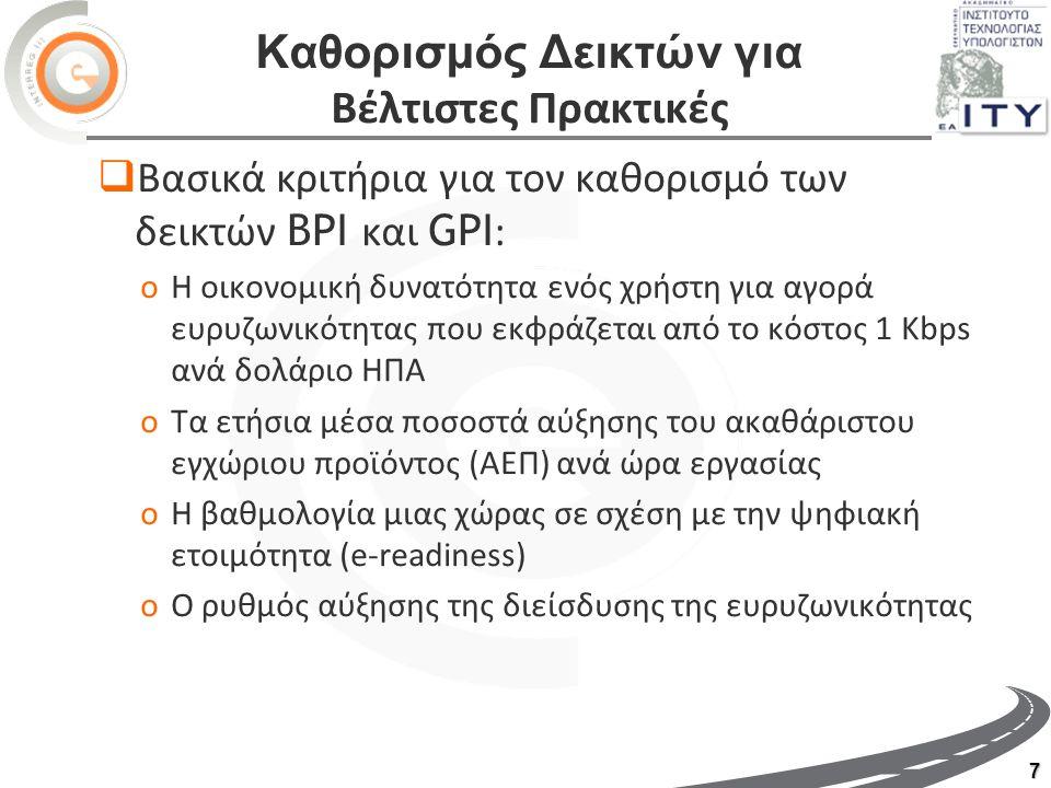 7 Καθορισμός Δεικτών για Βέλτιστες Πρακτικές  Βασικά κριτήρια για τον καθορισμό των δεικτών BPI και GPI : oΗ οικονομική δυνατότητα ενός χρήστη για αγορά ευρυζωνικότητας που εκφράζεται από το κόστος 1 Kbps ανά δολάριο ΗΠΑ oΤα ετήσια μέσα ποσοστά αύξησης του ακαθάριστου εγχώριου προϊόντος (ΑΕΠ) ανά ώρα εργασίας oΗ βαθμολογία μιας χώρας σε σχέση με την ψηφιακή ετοιμότητα (e-readiness) oΟ ρυθμός αύξησης της διείσδυσης της ευρυζωνικότητας