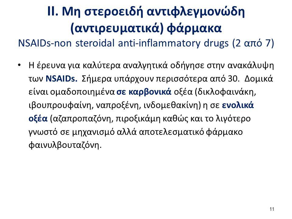 ΙΙ. Μη στεροειδή αντιφλεγμονώδη (αντιρευματικά) φάρμακα NSAIDs-non steroidal anti-inflammatory drugs (2 από 7) Η έρευνα για καλύτερα αναλγητικά οδήγησ