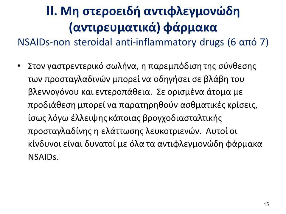ΙΙ. Μη στεροειδή αντιφλεγμονώδη (αντιρευματικά) φάρμακα NSAIDs-non steroidal anti-inflammatory drugs (6 από 7) Στον γαστρεντερικό σωλήνα, η παρεμπόδισ