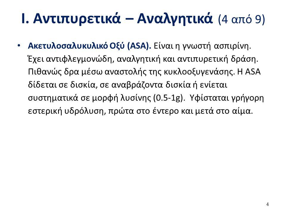 Ι. Αντιπυρετικά – Αναλγητικά (4 από 9) Ακετυλοσαλυκυλικό Οξύ (ASA). Είναι η γνωστή ασπιρίνη. Έχει αντιφλεγμονώδη, αναλγητική και αντιπυρετική δράση. Π