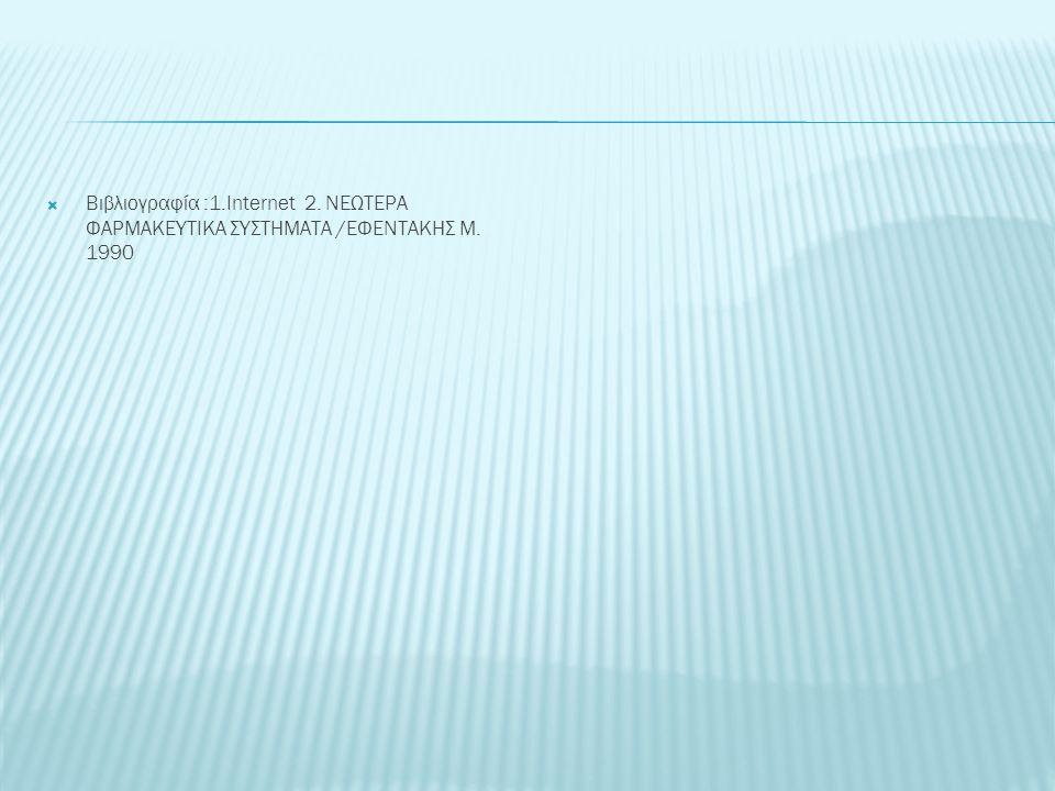  Βιβλιογραφία :1.Internet 2. ΝΕΩΤΕΡΑ ΦΑΡΜΑΚΕΥΤΙΚΑ ΣΥΣΤΗΜΑΤΑ /ΕΦΕΝΤΑΚΗΣ Μ. 1990