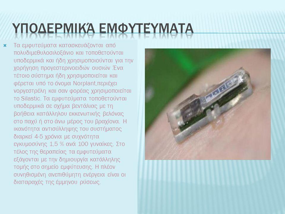  Τα εμφυτεύματα κατασκευάζονται από πολυδιμεθυλοσιλοξάνιο και τοποθετούνται υποδερμικά και ήδη χρησιμοποιούνται για την χορήγηση προγεστερινοειδών ου